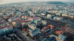 Train station top view aerial. Aerial view of train station in Prague hlavni nadrazi rail tracks royalty free stock images