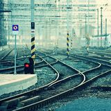 The train station and tracks. Brno Czech Republic. Central Station. Royalty Free Stock Photography