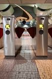 Train Station Turnstiles Vertical Stock Photo