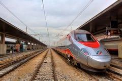 Train on the station. Venice, Italy. VENICE - NOVEMBER 13:Trenitalia  Frecciabianca train on Santa Lucia station in Venice. Frecciabianca (white arrow) is long Stock Images