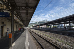 The train station in Vevey, Switzerland royalty free stock image