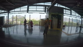 Train station view during arrival to train station. stock video footage
