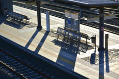 Train station. View of an empty platform in a train station Royalty Free Stock Images