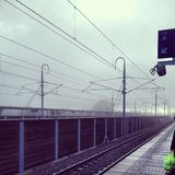 Train station. View of a train station quay on an overcast foggy day Royalty Free Stock Photo