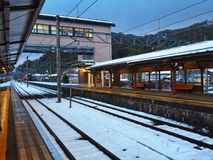 Train station in winter royalty free stock images