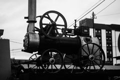 A train statue steam machine old black and white at jogja yogyakarta indonesia. Java Stock Photo