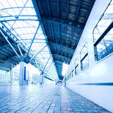 Train stay on wet platform Stock Images