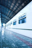 Train stay on wet platform Royalty Free Stock Photography