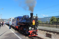 Train with Steam Locomotive on the children's railway in Russia, Saint Petersburg Stock Photography