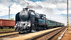 Train with a steam locomotive. stock photography