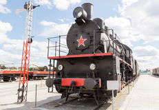 Train at the steam motion. Pyshma, Ekaterinburg, Russia - August Royalty Free Stock Photo