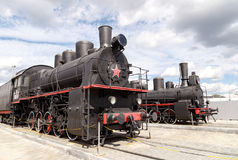 Train at the steam motion. Pyshma, Ekaterinburg, Russia - August Royalty Free Stock Image