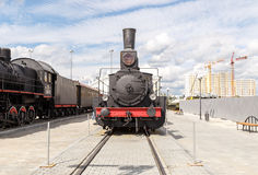Train at the steam motion. Pyshma, Ekaterinburg, Russia - August Stock Image