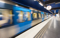 Train in Stockholm metro station, Sweden, Europe Stock Images