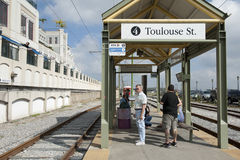 Train stop in new orleans. Toulouse Street train stop in new orleans, usa Royalty Free Stock Photo