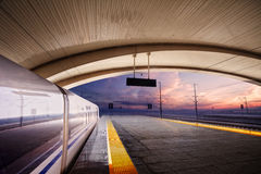 Train stop at railway station Stock Image