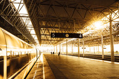 Train stop at railway station Royalty Free Stock Photography