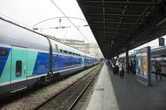Train stop waiting in terminal for send and receive passenger at platform of Gare de Paris-Est Royalty Free Stock Photos