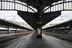 Train stop waiting in terminal for send and receive passenger at. Platform of Gare de Paris-Est or Paris Gare de l`est railway station on September 7, 2017 in Royalty Free Stock Photo