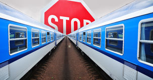 Train stoppage strike. Train strike, railway and illegal immigration stoppage, concept stock photography