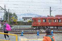 Train stopped at Kawaguchiko Railway station. Stock Photography