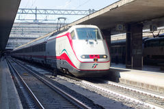 Train stops Roma Termini railway station. Rome, Italy - March 2015: Train stops at Roma Termini railway station Royalty Free Stock Photo