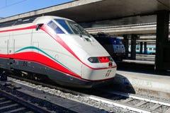 Train stops Roma Termini railway station. Rome, Italy - March 2015: Train stops at Roma Termini railway station Royalty Free Stock Image