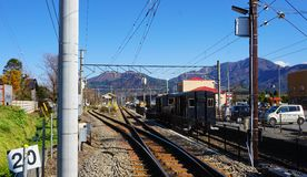 Train stops by the Shimoyoshida station. On November 29, 2016 Royalty Free Stock Image