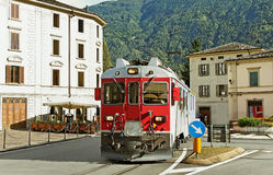 Train on the street. Royalty Free Stock Image