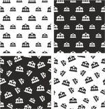 Train or Subway Station Big & Small Aligned & Random Seamless Pattern Set Stock Images