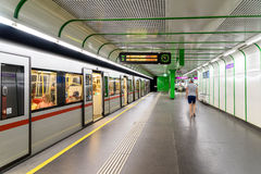 Train In Subway Station Waiting For Passengers In Downtown Vienna Stock Images