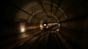 Train subway tunnel speed. View of a subway tunnel as seen from the front of a moving train stock footage