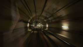 Train subway tunnel speed. View of a subway tunnel as seen from the front of a moving train stock video footage