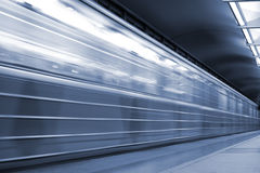 Train in a Subway. Underground. Station, motion blur. Tint blue Royalty Free Stock Images