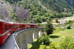 Train suisse Bernina de montagne exprès Photographie stock libre de droits
