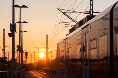 Train sundown Royalty Free Stock Photography