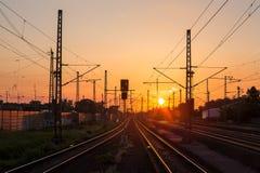 Train sundown Stock Image