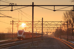 Train at sunrise Royalty Free Stock Image