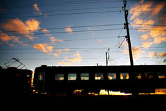 Train at sunset Royalty Free Stock Photography