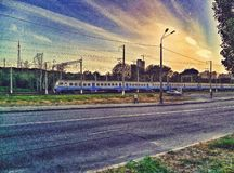 Train and sunset landscape in kiev royalty free stock photography