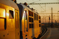 Train at the sunset Royalty Free Stock Images