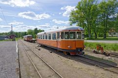 Train of a swedish narrow-gauge railway. Train of a narrow-gauge railway from Virserum to Malilla, Smaland, Sweden Stock Image