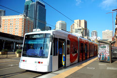 Train in Sydney. Buildings in background, logos and advertisements removed Royalty Free Stock Image