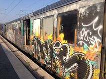 Train tagging high. Train tagging on old train ugly Royalty Free Stock Photos