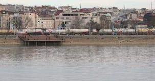 Train Tanker. BELGRADE, SERBIA - FEBRUARY 22, 2017: Train Tanker at River Sava in Belgrade, Serbia stock video footage
