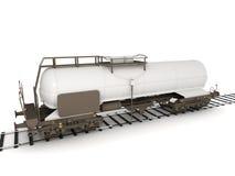Train tanker on tracks. Train tanker on railroad tracks isolated on white background Vector Illustration
