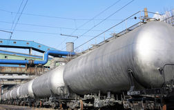 The train tanks with oil and fuel Stock Image