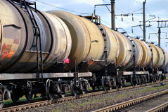 The train tanks with oil and fuel. The train transports tanks with oil and fuel Royalty Free Stock Photography