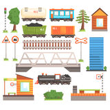 Train Tansport Related Collection Of Icons Stock Photo
