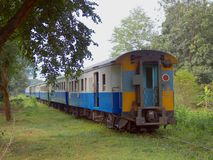 Train TH 52. View of the last carriage of a train in Thailand Stock Images